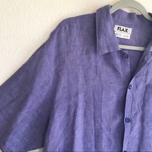 Flax Linen Purple Button Up Short Sleeve Top